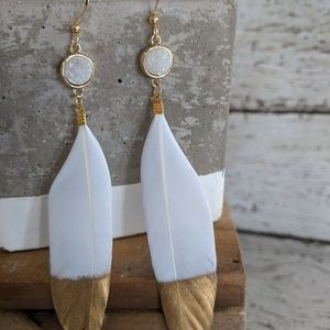 Jewelry - Gold dipped white geniune feather earrings